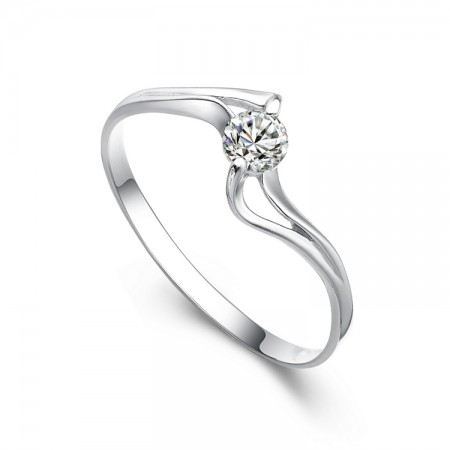 Original Design 925 Sterling Silver Inlaid Cubic Zirconia Engagement Ring