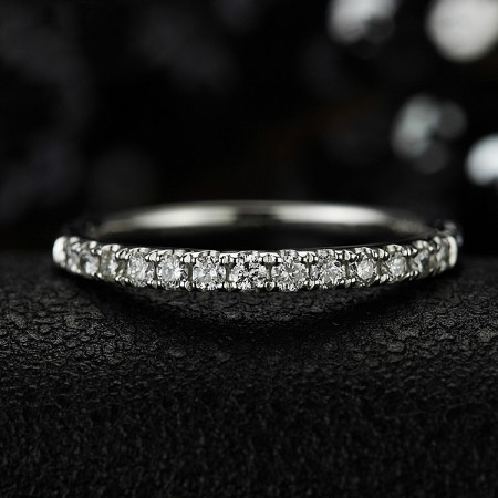 925 Sterling Silver Inlaid Single Row Cubic Zirconia Engagement Ring(Price For One)