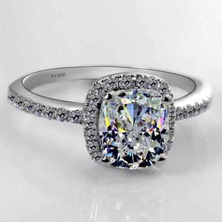 2.5Ct Princess Cut 925 Silver Plated Platinum Engagement Ring