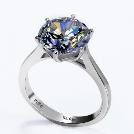 Luxury 4Ct Six Claw Set With Round Cubic Zirconia Engagement Ring