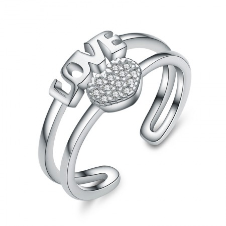 """Creative Lettering """"Love"""" S925 Silver Inlaid Cz Engagement Ring"""