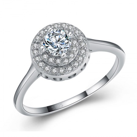 Fashion Atmosphere S925 Sterling Silver Inlaid Circular Cz Engagement Ring