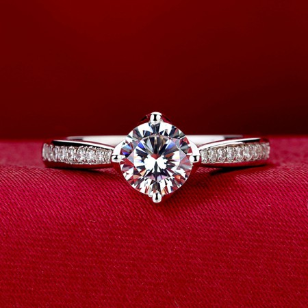 """I Do"" 925 Sterling Silver Plated 18K White Gold Set Ruby Engagement Ring"