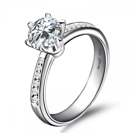 Classic Six-Claw Inlaid Cubic Zirconia 925 Sterling Silver Plated Platinum Engagement Ring