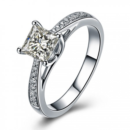 Classic Princess Cut Cz 925 Sterling Silver Engagement Ring