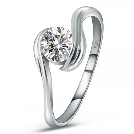 New Stylish Simplicity S925 Silver Inlaid Cz Engagement Ring