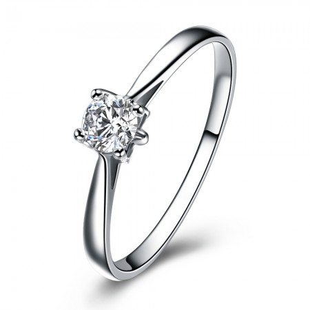 Simple Low-Key 925 Sterling Silver Plated Gold Inlaid Cz Engagement Ring