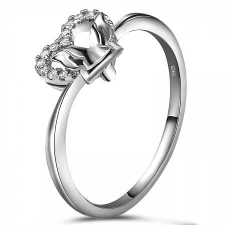 Butterfly Heart-Shaped Literary Temperament 925 Sterling Silver Engagement Ring