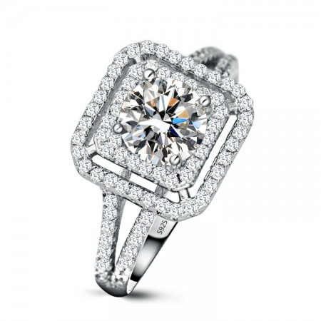Retro Exaggerated S925 Silver Inlaid 1Ct Princess Cut Cz Engagement Ring