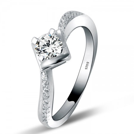 Europe Unique Shape S925 Silver Inlaid Cz Engagement Ring