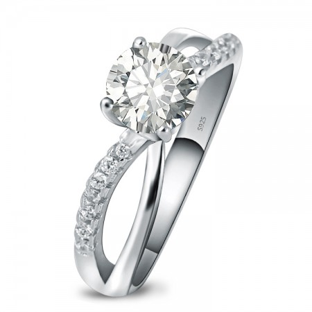 Graceful Curve Of 925 Sterling Silver Plated Platinum Engagement Ring