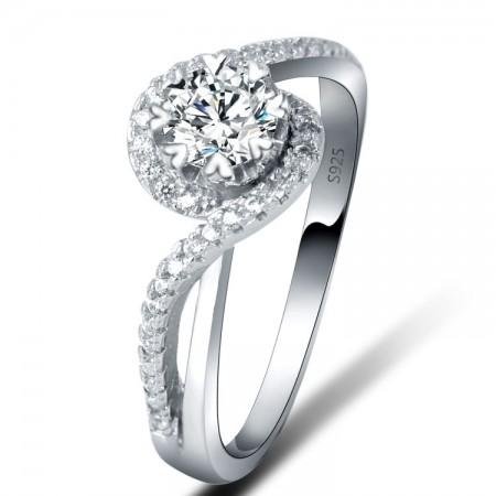 Europe Temperament S925 Silver Inlaid Cz Engagement/Wedding Ring