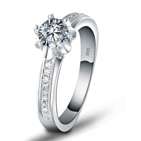 Creative Flower Shape 925 Sterling Silver Inlaid Cz Engagement Ring