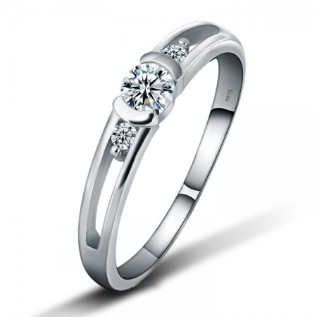 Korean Version Of The High-Grade 925 Sterling Silver Inlaid Cz Engagement Ring