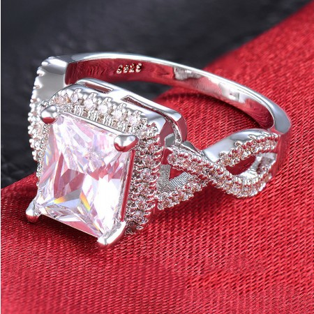 Hot Sell Luxury Copper Plated Gold Inlaid Cz Engagement Ring