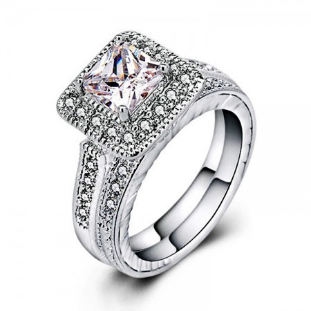 Hot Jewelry Copper-Nickel Alloy Inlaid Cz Engagement Ring