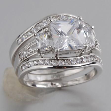 Europe Retro Atmosphere Copper Inlaid Cz Engagement Ring Set