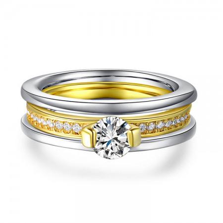 New Elegant Luxury 18K Gold Plated Inlaid Cz Engagement Ring