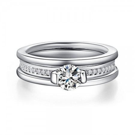 New Single Cubic Zirconia Pure Smooth Engagement Ring