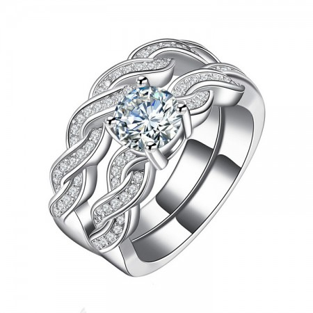 High Quality Weave Intersect Inlaid Cubic Zirconia Engagement Ring