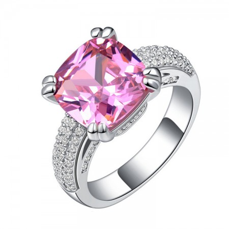 High-End Fashion Ultra-Luxury Inlaid Pink Cz Engagement Ring
