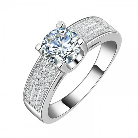 High-Grade Gold Plated Inlaid Super Flash 1.5Ct Cz Engagement Ring
