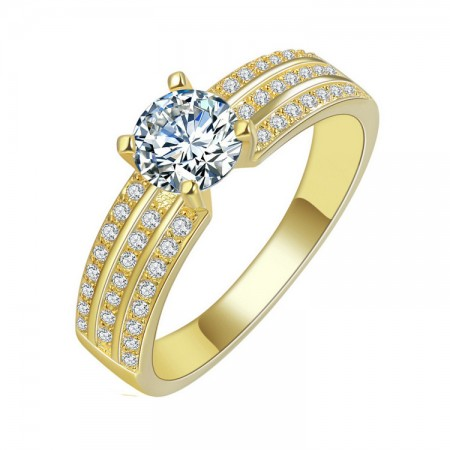 High Quality Jewelry 18K Gold-Plated Brass Engagement Ring