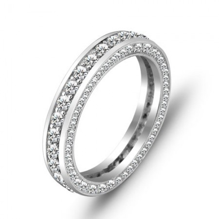 Europe High-Grade S925 Silver Inlaid Cubic Zirconia Engagement Ring