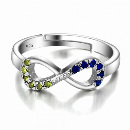 Fashion Hot Sell S925 Silver Inlaid Colorful Cz Engagement Ring