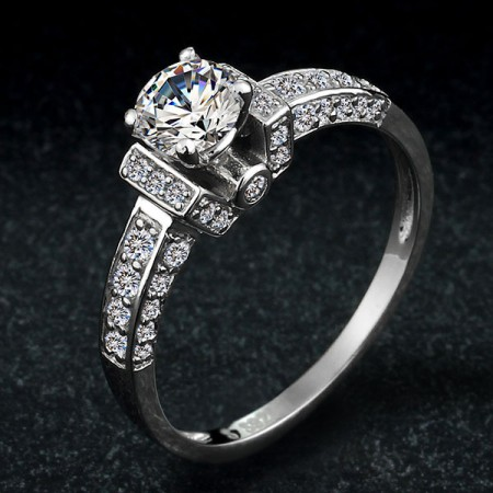 Europe Luxury Exaggerated 925 Sterling Silver Inlaid Cz Engagement/Wedding Ring