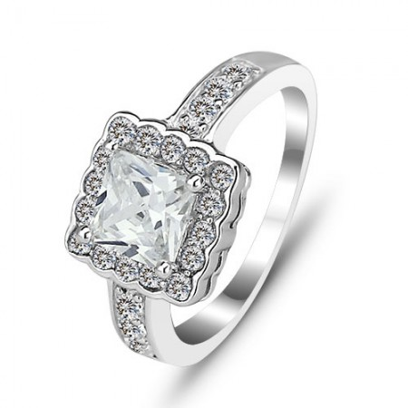 Luxury Exaggerated 925 Sterling Silver Inlaid Princess Cut Cz Engagement Ring