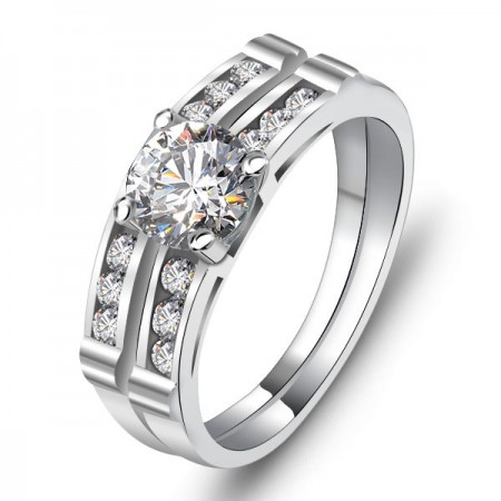 Europe Fashion 925 Sterling Silver Inlaid Sparkling Cz Engagement Ring