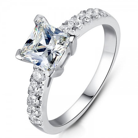 Europe Popular 925 Sterling Silver Inlaid 2Ct Princess Cut Cz Engagement Ring