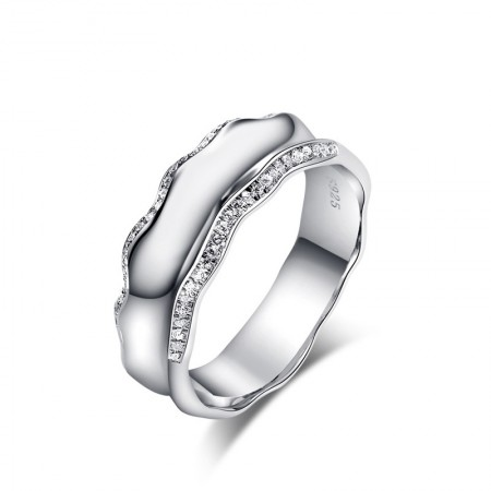 Wide Domineering Fashion Silver Inlaid Cubic Zirconia Engagement Ring