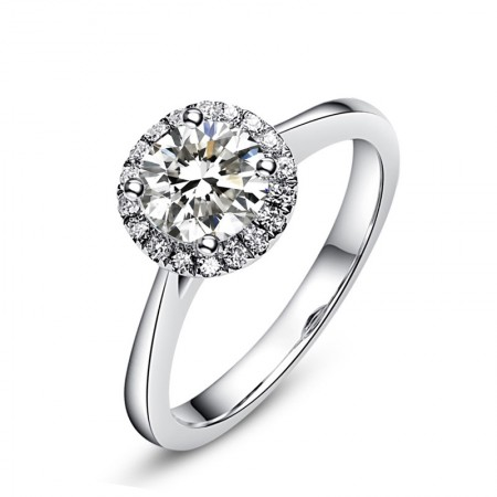Europe Luxury Sterling Silver Inlaid Four Claw Round Cz Engagement Ring
