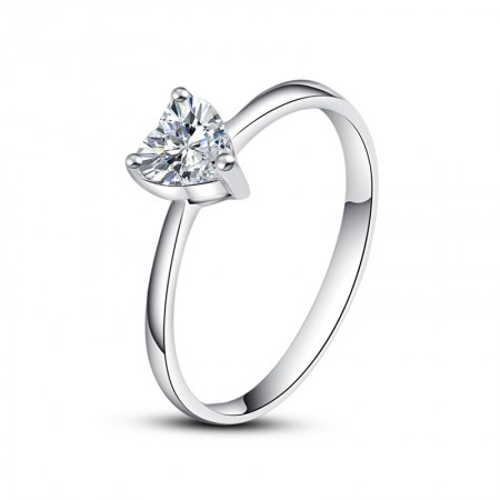 Simple Romantic 925 Sterling Silver Inlaid Heart-Shaped Cut Cz Engagement Ring