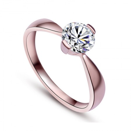 Highlight Temperament S925 Silver Plated 18K Rose Gold Inlaid Cz Engagement Ring
