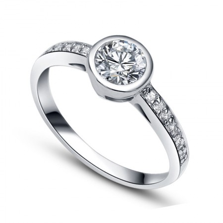 New Creative S925 Silver Inlaid Cubic Zirconia Engagement/Wedding Ring
