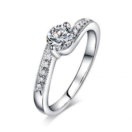 Elegant And Restrained 925 Sterling Silver Plated Gold Inlaid Cz Engagement Ring