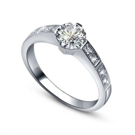 Hot Selling 925 Sterling Silver Plated Gold Inlaid Cz Engagement Ring
