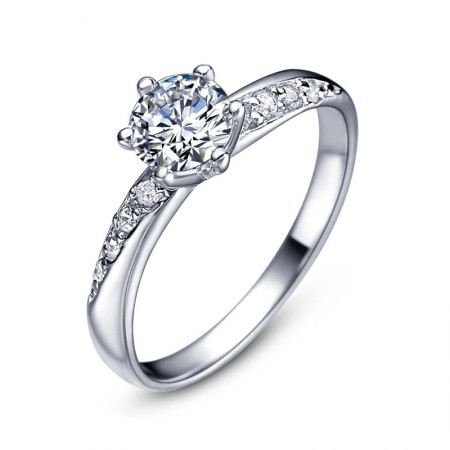 Graceful Lines 925 Sterling Silver Inlaid Six Claw Round Cz Engagement Ring