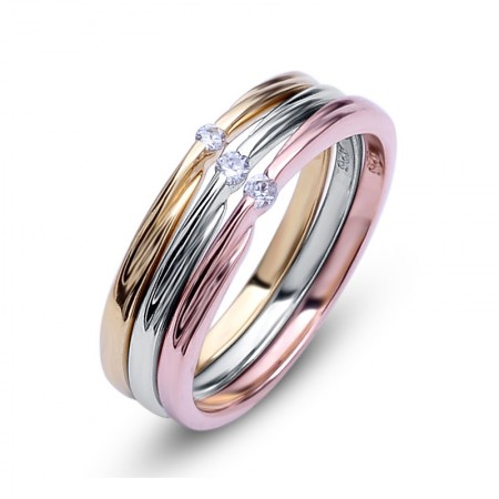 Gorgeous Dazzling Color Gold-Plated 925 Sterling Silver Inlaid Cz Engagement Ring