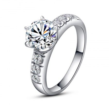 Europe Luxury 925 Sterling Silver Inlaid 2Ct Cubic Zirconia Engagement Ring