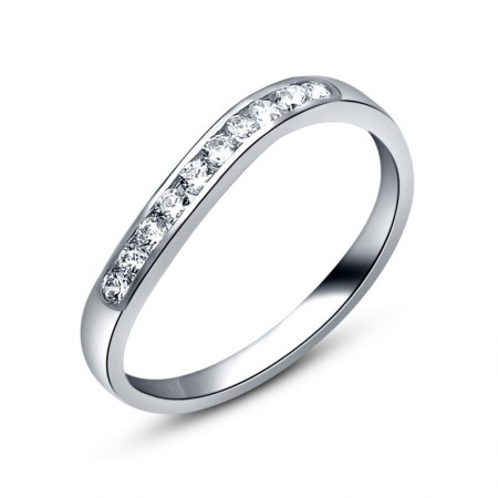 Curved Beautiful Lines 925 Sterling Silver Inlaid 1.8Ct Cz Engagement Ring