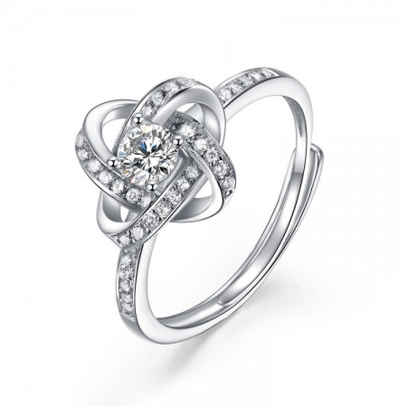 Korean Personality Interwoven S925 Sterling Silver Engagement Ring
