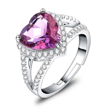 Elegant And Luxurious 925 Sterling Silver Inlaid Heart-Shaped Crystal Engagement Ring