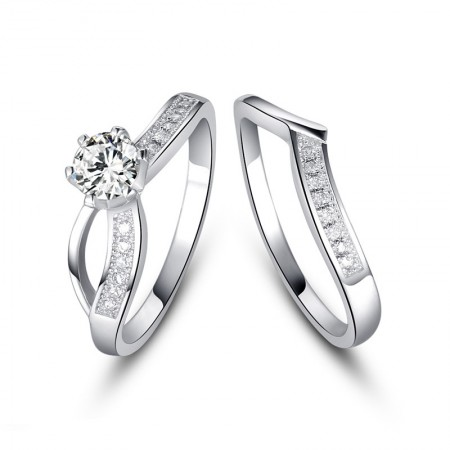 Europe Popular Creative Combination Of Sterling Silver Inlaid Cz Engagement Ring