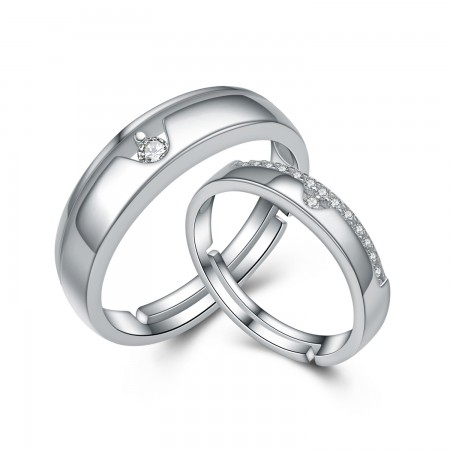 Korean 925 Sterling Silver Inlaid Cubic Zirconia Adjustable Couple Rings