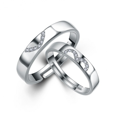 New Hot Have Mutual Affinity S925 Silver Inlaid Cubic Zirconia Couple Rings