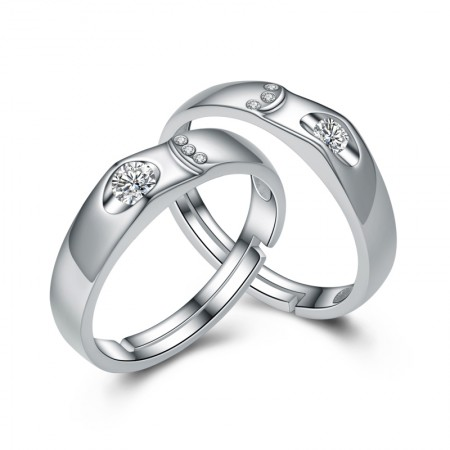 New Fashion S925 Silver Adjustable Lettering Couple Rings